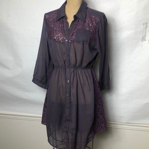Free People woven/lace  button front shirt dress